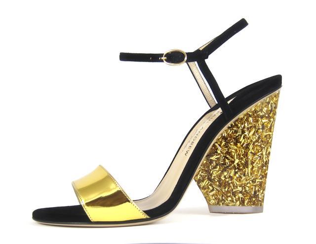 Paul Andrew x Edie Parker Tie-Front Glitter Heel