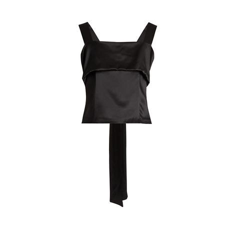 Sleeveless bow silk-charmeuse top