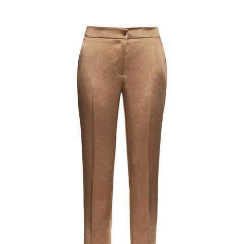 High-Rise Cigarette-Leg Satin Trousers