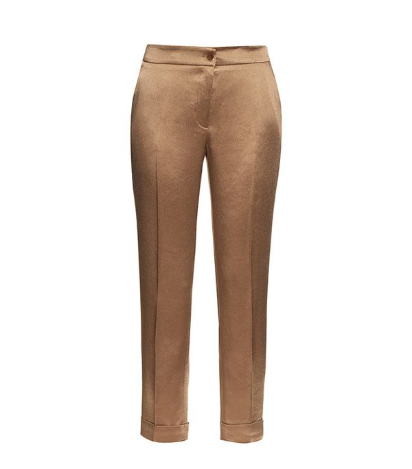 Etro High-rise cigarette-leg satin trousers