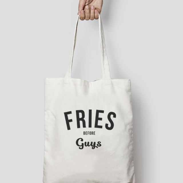 Hatches and Matches Fries Before Guys Funny Tote Bag Canva
