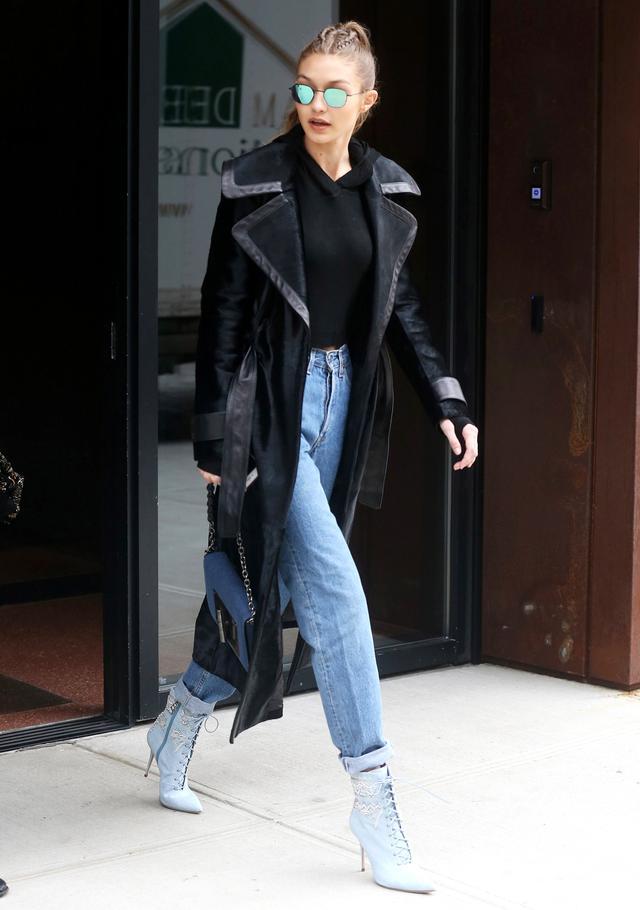 On Hadid: Rihanna x Manolo BlahnikDancehall Cowgirl Jewel Boots($3015).
