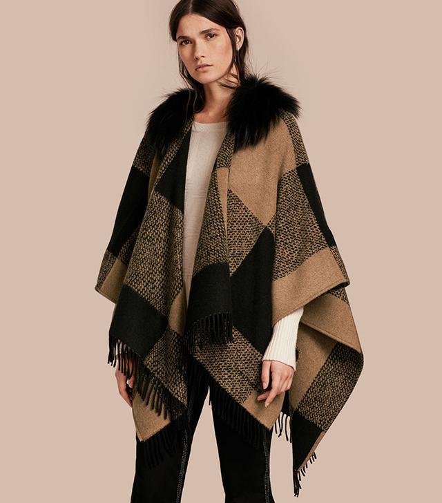 Burberry Fur-Trimmed Buffalo Check Poncho