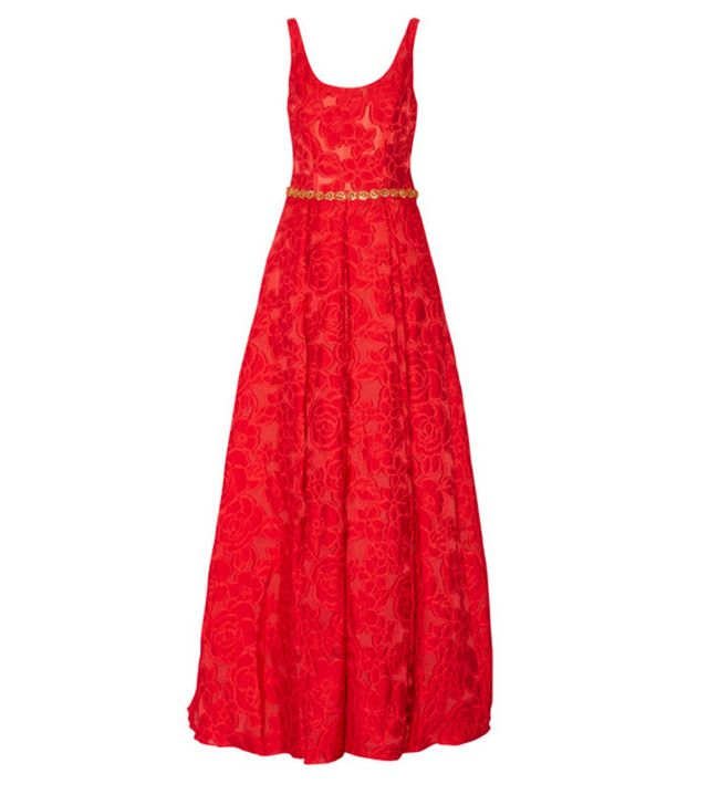 Red Marchesa evening gown