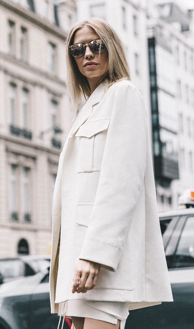 Paris Fashion Week street style white coat on white outfit