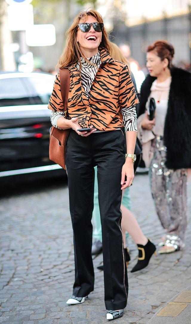 Paris Fashion Week leopard print jacket and black pants street style