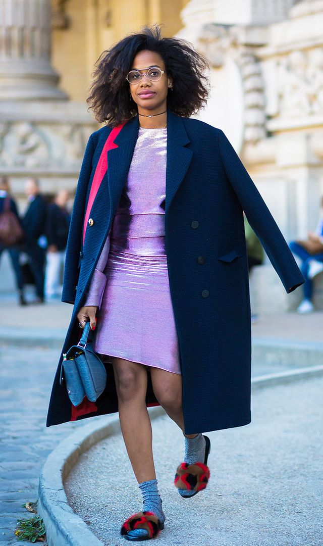 Jan Michael Quammie street style in purple velvet dress, socks and furry slippers