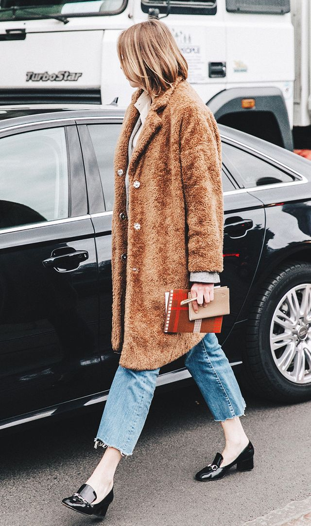 Milan Fashion Week street style gucci shoes and fur coat