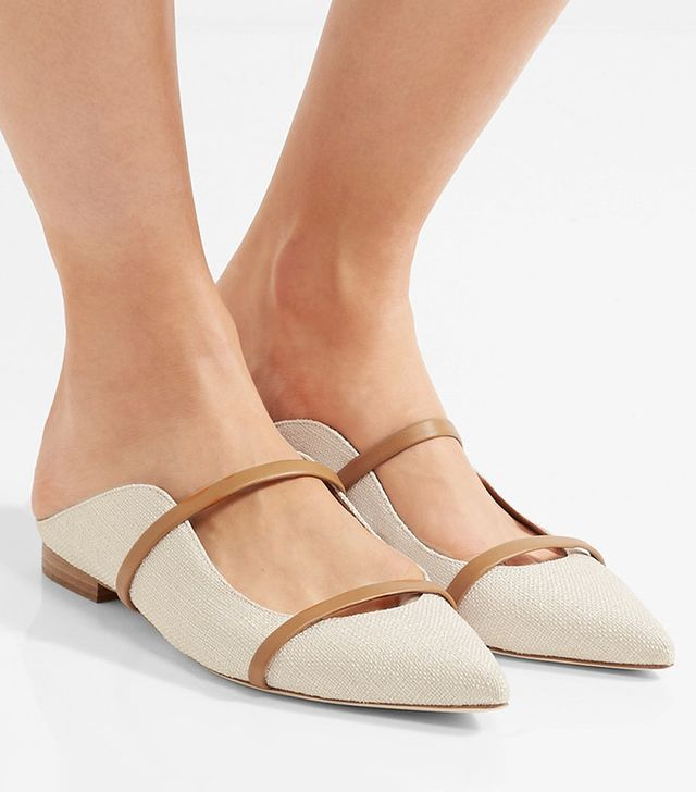 Malone Souliers Leather-Trimmed Linen Point-Toe Flats