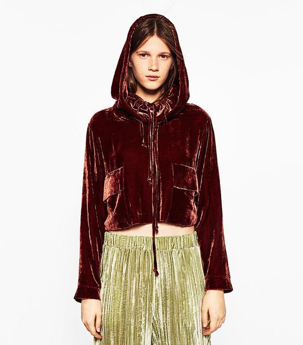 Zara Hooded Velvet Top