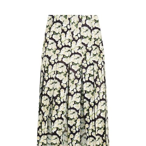 Pleated Floral-Print Leather and Silk-Chiffon Skirt