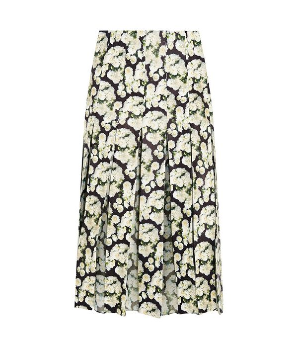 Adam Lippes Pleated Floral-Print Leather and Silk-Chiffon Skirt