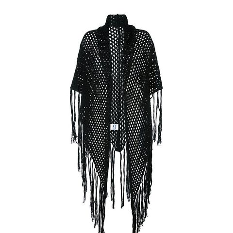 Fishnet Fringed Shawl