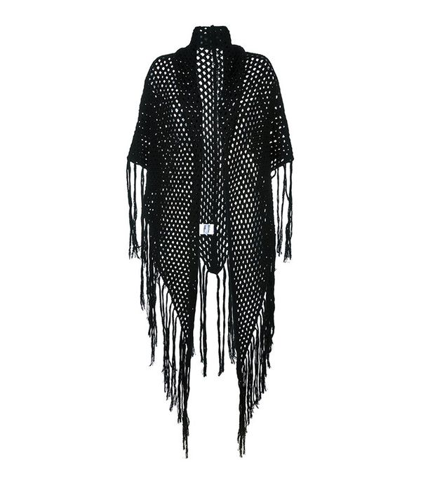Carven Fishnet Fringed Shawl