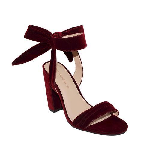 Michaela Velvet Ankle Tie Block Heel