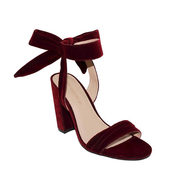 Who What Wear Michaela Velvet Ankle Tie Block heel