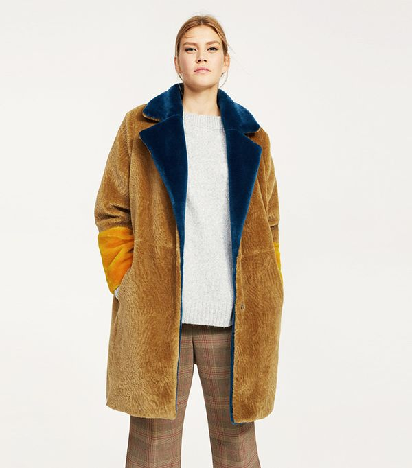 Tricolor faux fur coat