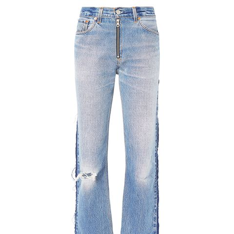 High-Rise Zip Detail Relaxed Jeans