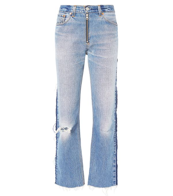 Re/Done High-Rise Zip Detail Relaxed Jeans Denim 28