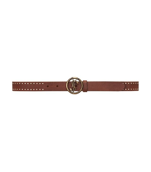 Saint Laurent Monogram Studded Belt with Interlocking Snake