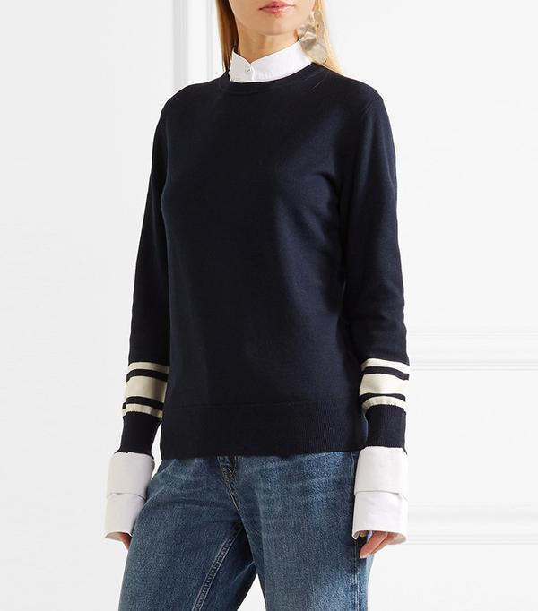 Victoria, Victoria Beckham Poplin-Trimmed Wool and Cotton-Blend Sweater