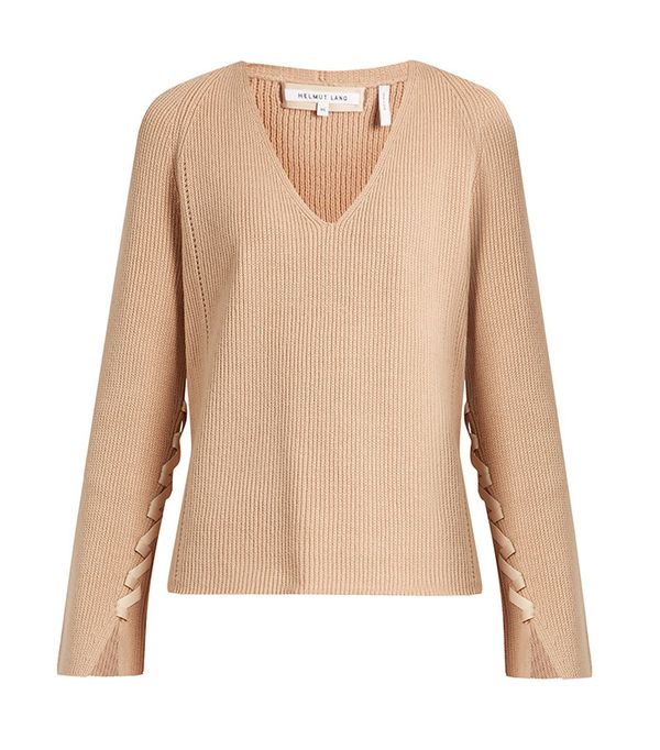 Helmut Lang Lace-Sleeve V-Neck Wool and Cashmere-Blend Sweater