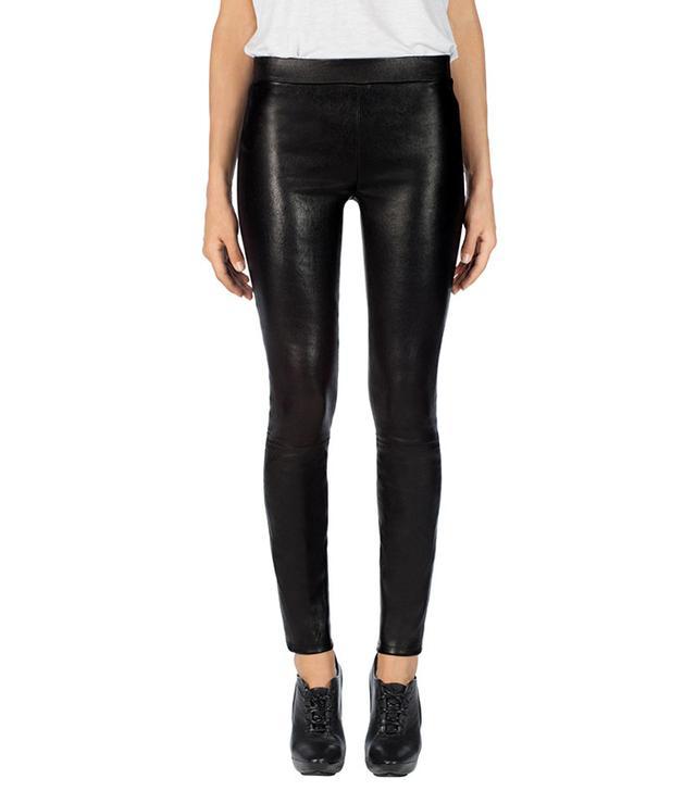 J Brand Edita Mid-Rise Leather Leggings