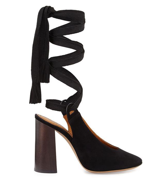 Chloé Sude Block-Heel Leg-Wrap Pumps