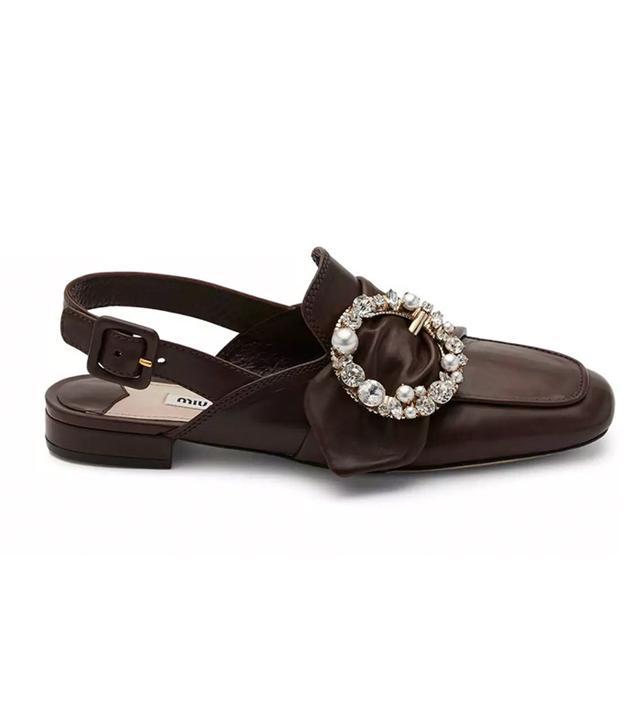 Miu Miu Pearly-Buckle Leather Slingback Flats