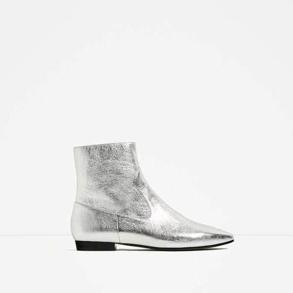 Zara Laminated Leather Ankle Boots