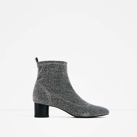 Shiny Sock Ankle Boots