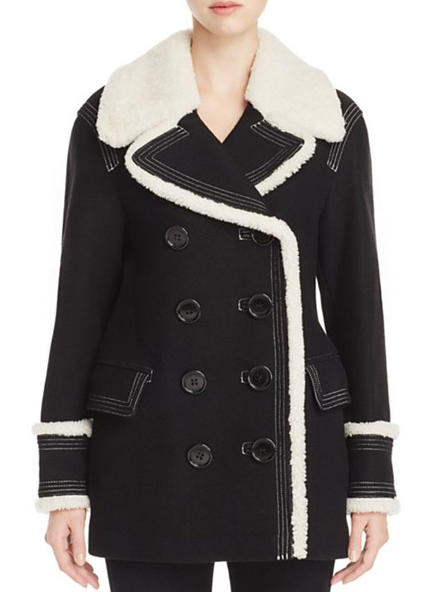 Burberry Colstead Shearling Trim Pea Coat