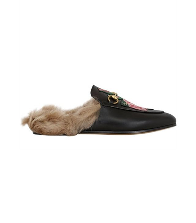 Gucci Princetown Rose Leather & Fur Mules
