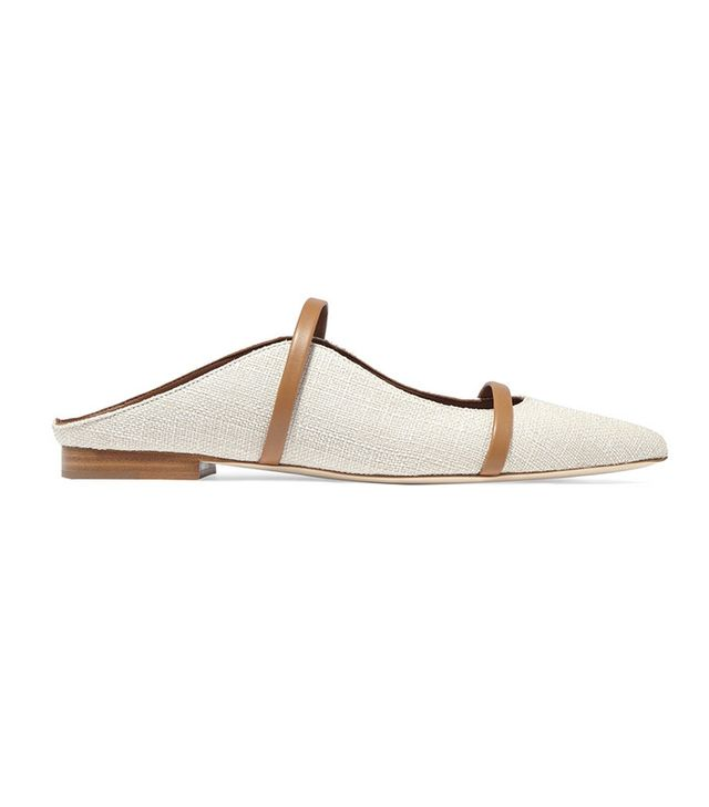 Malone Souliers Leather-Trimmed Linen Point-Toe Flat