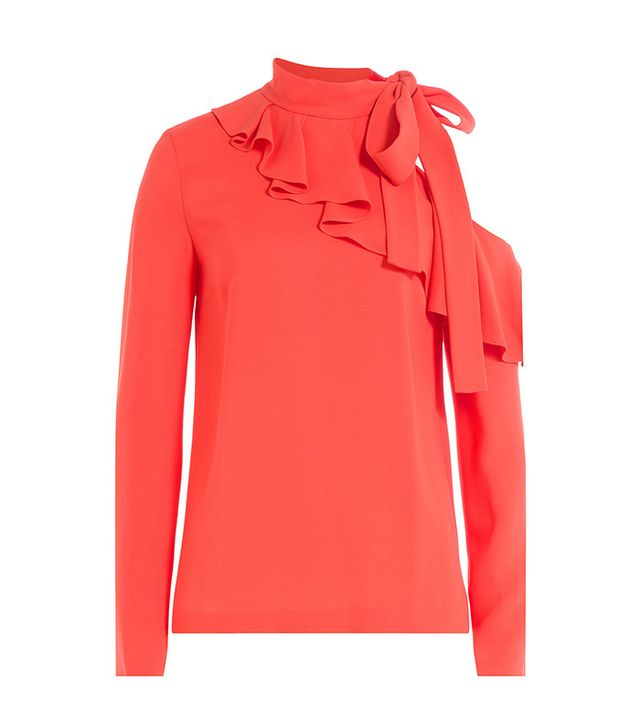 Emilio Pucci Top with Cut Out Shoulder and Ruffles Front