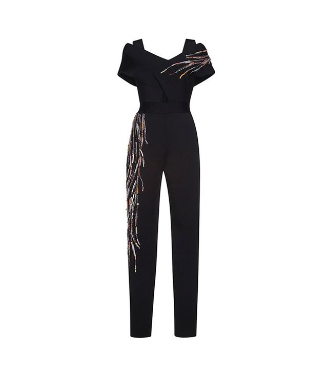 Zuhair Murad Punto Milano Knit Embroidered Jumpsuit