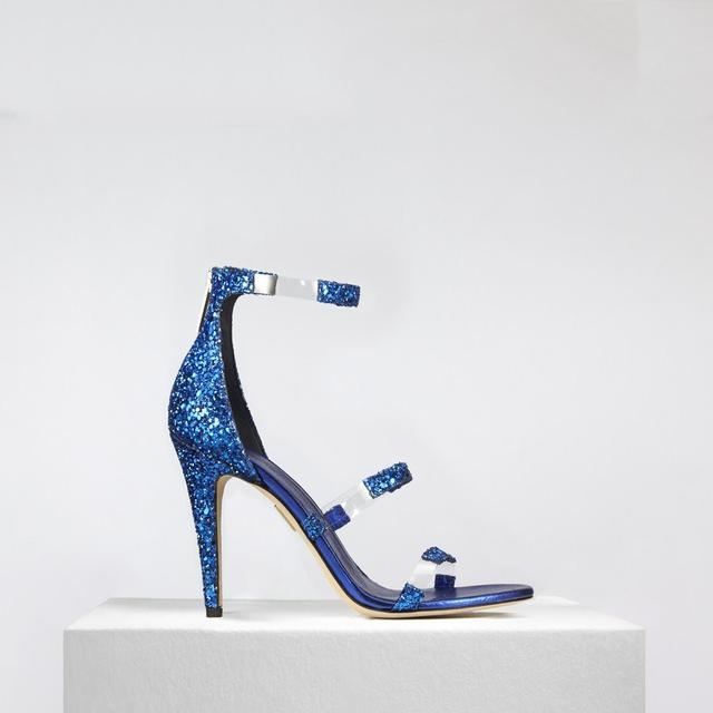 Tamara Mellon Frontline Glitter in Cobalt