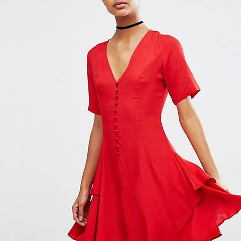 ASOS Tea Dress With Rouleau Buttons and Layered Skirt