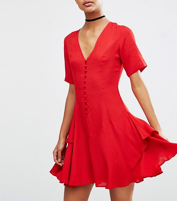 ASOS ASOS Tea Dress with Rouleau Buttons and Layered Skirt