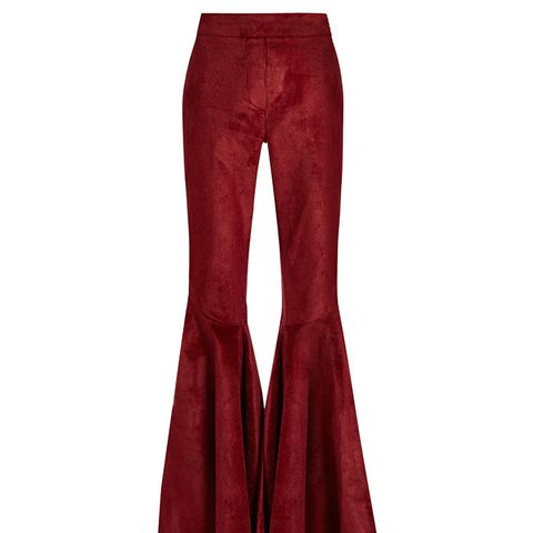 Jacuzzi High-Rise Ruffled Cuff Corduroy Trousers