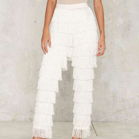 High Gear Fringe Pants in White