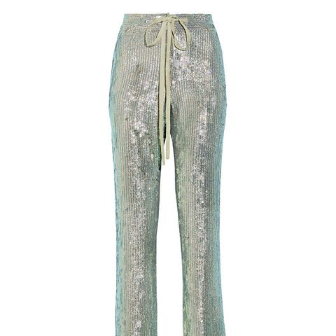 A Fish Called Wanda Iridescent Sequined Silk-Chiffon Wide-Leg Pants
