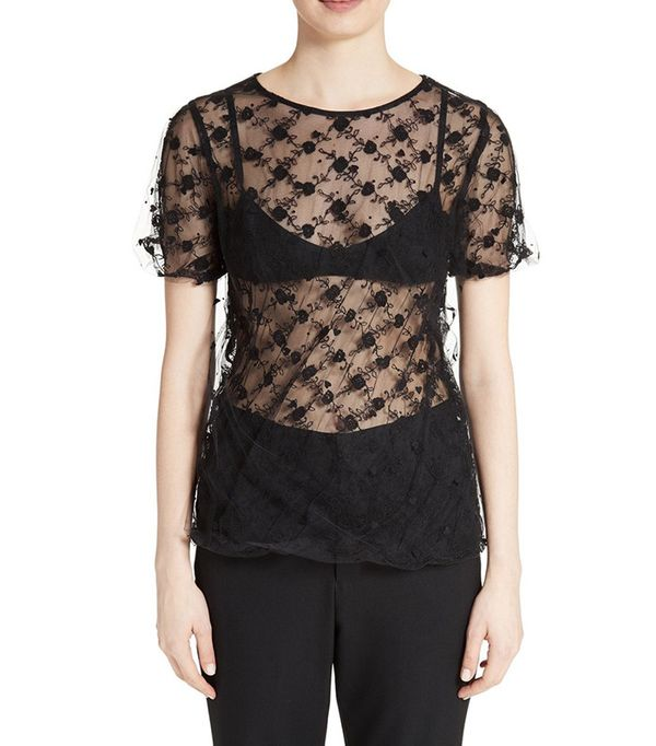 Tricot Comme des Garçons Embroidered Tulle Top