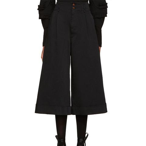 Black Satin Cuffed Trousers