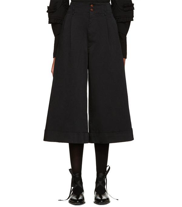 Comme des Garçons Black Satin Cuffed Trousers