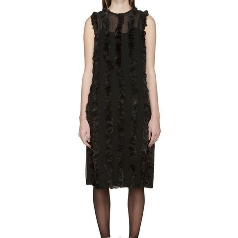 Black Faux-Fur Trim Dress
