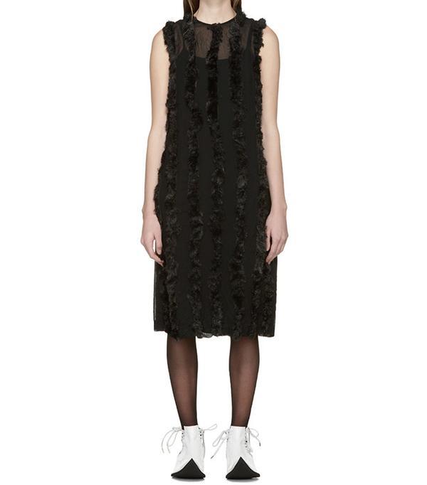 Comme des Garçons Black Faux-Fur Trim Dress