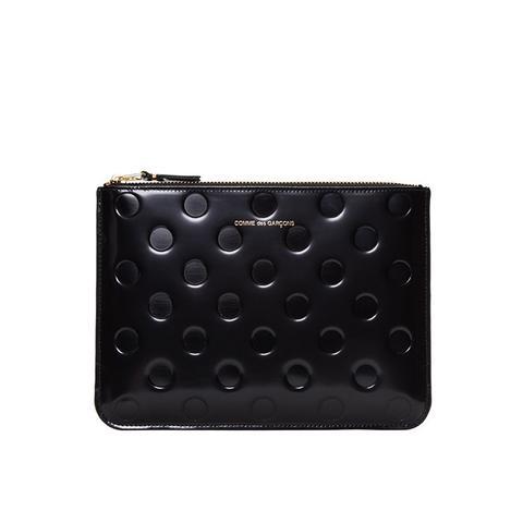 Wallet Black Patent Polka Dot Pouch