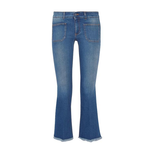 Stella McCartney Cropped Frayed Flare Jeans