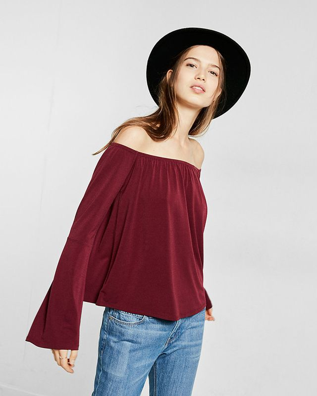 Express Off-the-Shoulder Bell-Sleeve Tee